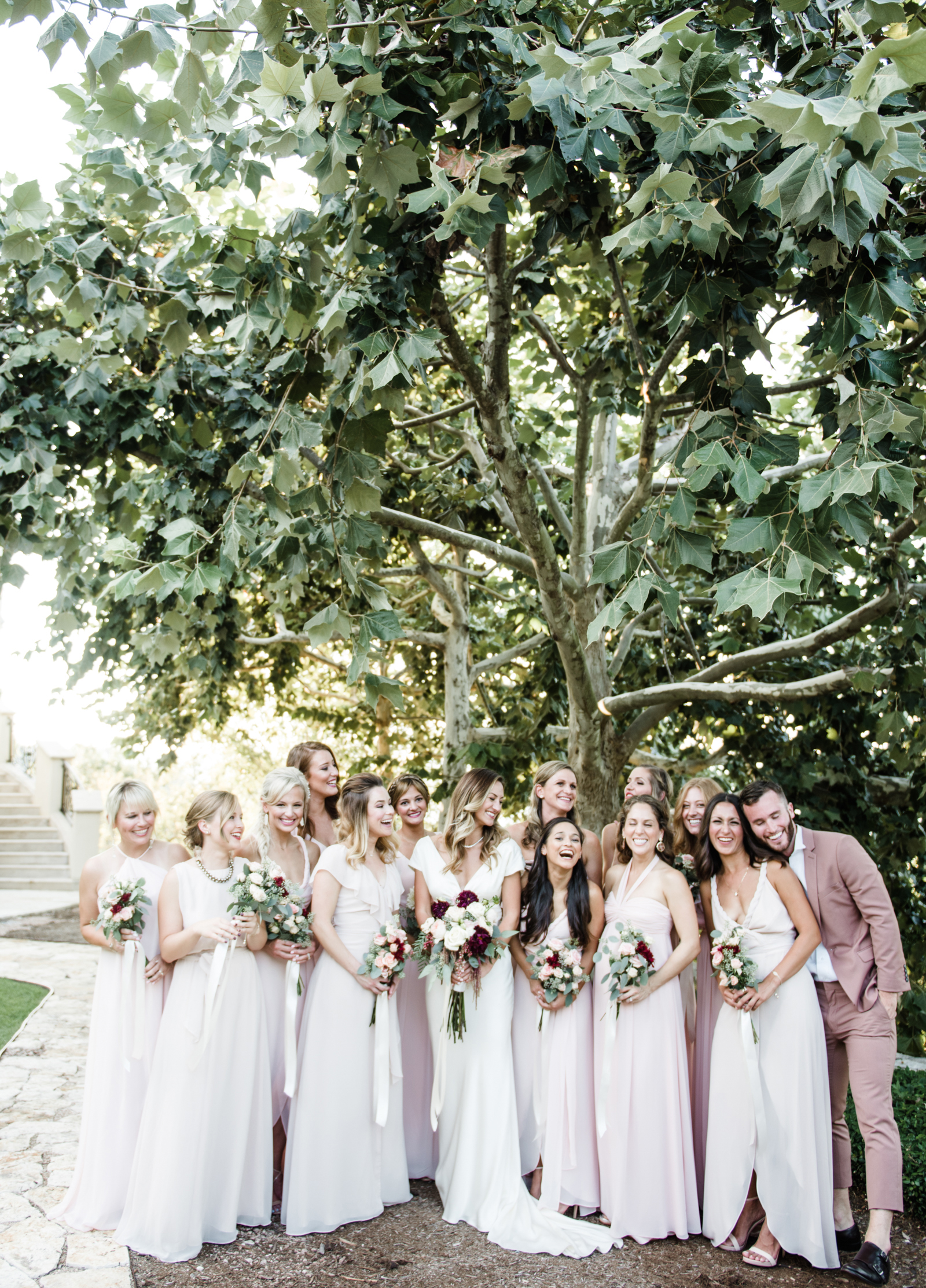 livvyland-blog-olivia-watson-wedding-villa-del-lago-austin-texas-fall-blush-burgundy-classic-romantic-joanna-august-mismatched-bridesmaid-dresses-3